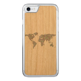 World map carved iPhone 8/7 case