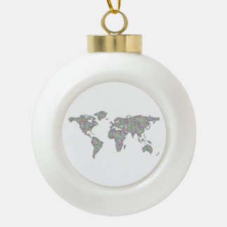 World map ceramic ball christmas ornament