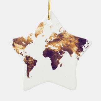 world map ceramic ornament