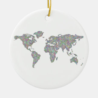 World map ceramic ornament