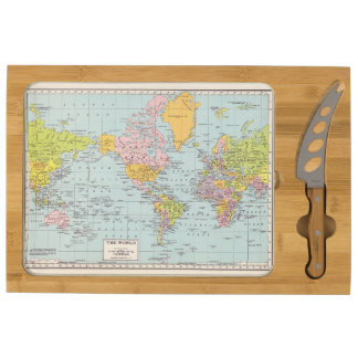 World Map Cheese Board Round Cheeseboard
