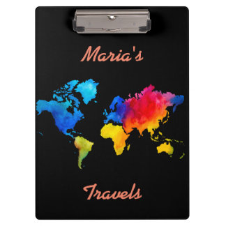 World Map. Clipboards