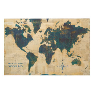 World Map Collage Wood Print