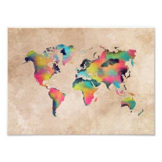 world map color photo print