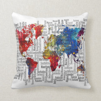 World map colors pillow