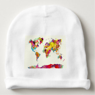 world map colours baby beanie