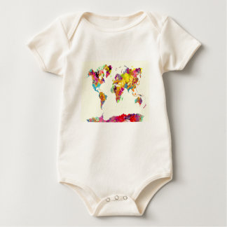 world map colours baby bodysuit
