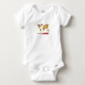 world map colours baby onesie