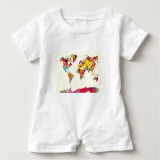 world map colours baby romper