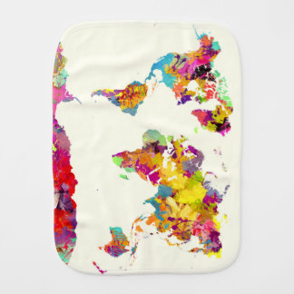world map colours burp cloth