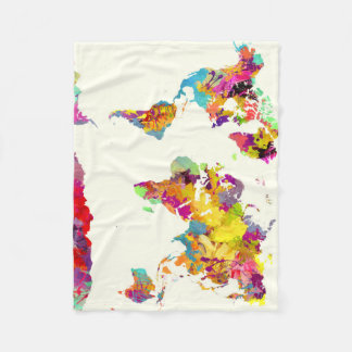 world map colours fleece blanket