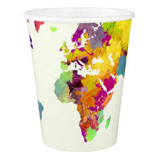 world map colours paper cup