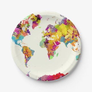 world map colours paper plate