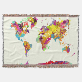 world map colours throw blanket