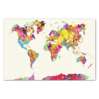 world map colours tissue paper