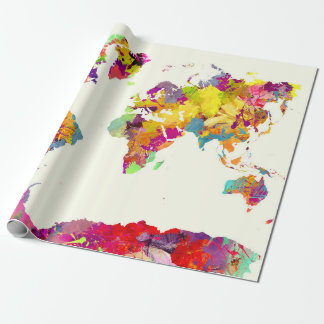 world map colours wrapping paper