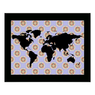 world map & compass rose poster