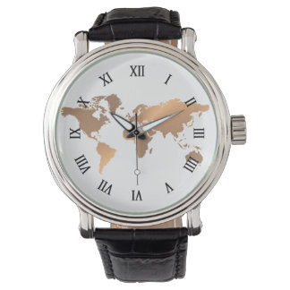 world map copper watch