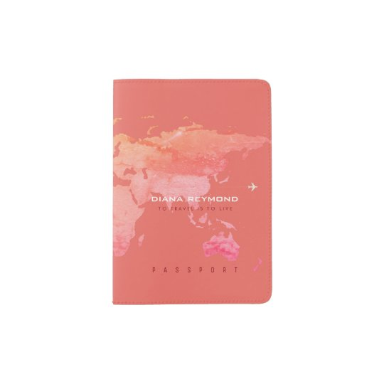 world map coral colour travel passport holder