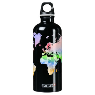 World Map Crumpled Multi-Coloured Water Bottle