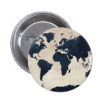 World Map Distressed Navy Buttons