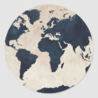 World Map Distressed Navy Classic Round Sticker