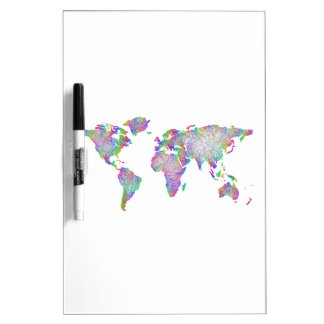 World map dry erase white board