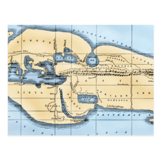 WORLD MAP: ERATOSTHENES POSTCARD