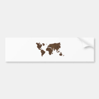 World map filled with coffee beans bumper sticker