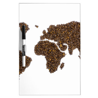 World map filled with coffee beans dry erase board