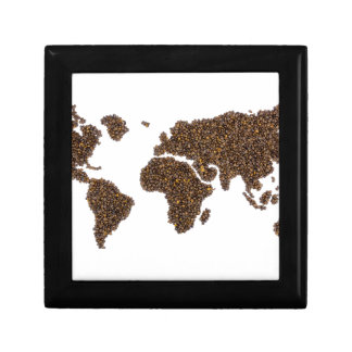 World map filled with coffee beans gift box