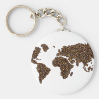World map filled with coffee beans keychain