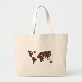 World map filled with coffee beans large tote bag