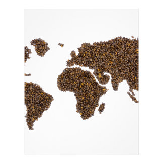 World map filled with coffee beans letterhead