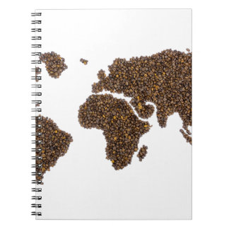 World map filled with coffee beans notebooks