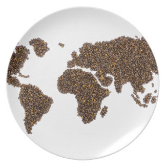 World map filled with coffee beans plate