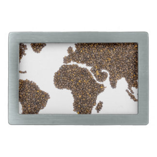 World map filled with coffee beans rectangular belt buckles