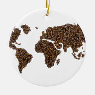 World map filled with coffee beans round ceramic ornament