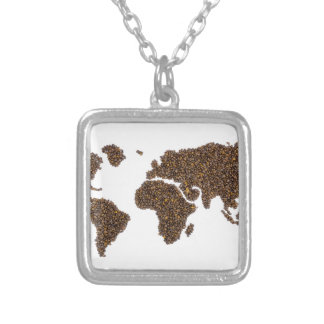 World map filled with coffee beans silver plated necklace