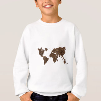 World map filled with coffee beans sweatshirt
