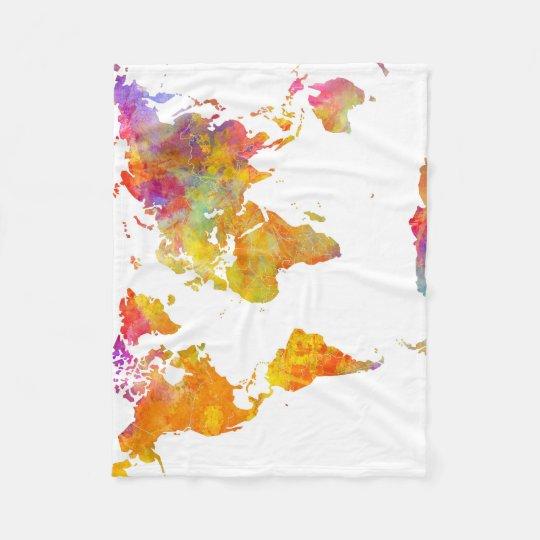 world map fleece blanket