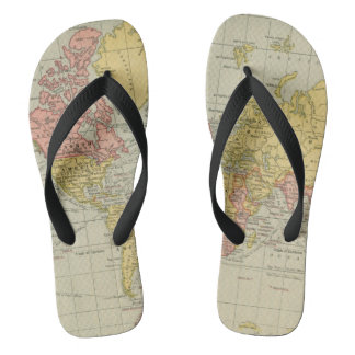 World Map Flip Flops
