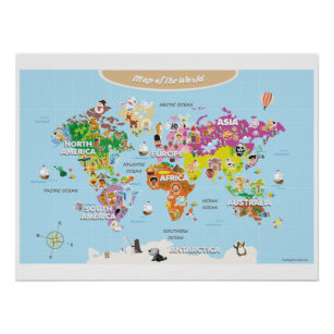 Kids world map posters prints poster printing zazzle ca world map for kids cute and colorful poster gumiabroncs Choice Image
