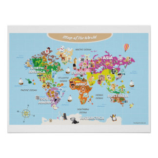 World Map For Kids - Cute and Colorful Poster