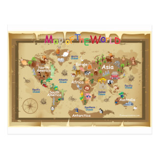 World Map For Kids - Earthy tones Postcard