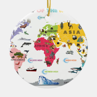 World Map For Kids - White and Bright Ceramic Ornament