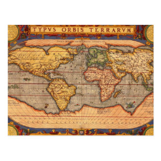 World map from 1601 postcard