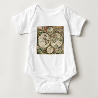 World Map from 1689 Baby Bodysuit