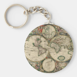 World Map from 1689 Basic Round Button Keychain