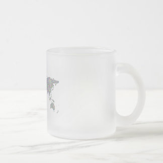 World map frosted glass coffee mug